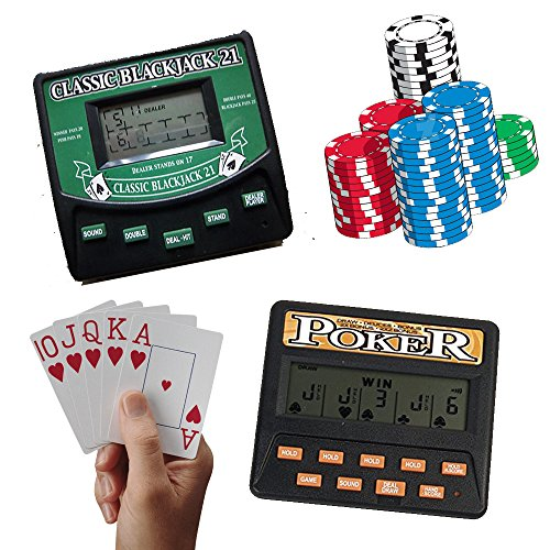 Casino Electronic Draw Poker (Traveling Portable Classic Blackjack 21 Cards & 5 in 1 Poker Electronic Handheld Game)