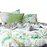 ORUSA 100% Cotton, 3pcs Tropical Botanical Duvet Cover Set, Floral Pattern Green Garden Leaves Printed on White Bedding (Queen Size), Style e