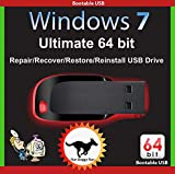 Image of Windows 7 Ultimate 64-Bit Install | Boot | Recovery | Restore USB Flash Drive Disk Perfect for Install or Reinstall of Windows