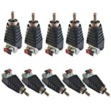 Daykit 10 pcs Speaker Wire Cable to Audio Male RCA Connector Adapter Jack