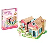 Sweet Villa with LED Light Doll House Collectible Fun Educational 3D Assembly Puzzle Model Toy 84 pieces