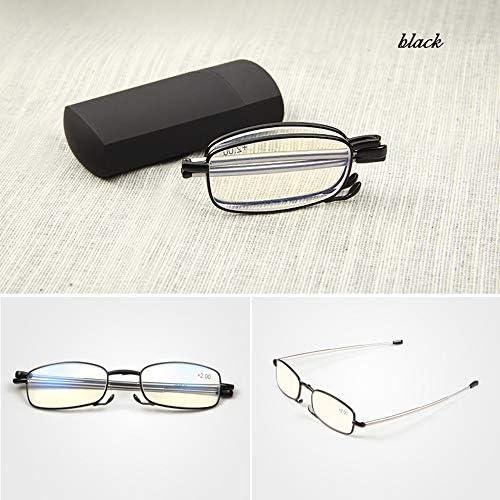 コンパクト折りたたみ老眼鏡|男女兼用のサンシャインリーダーブルーレイ対応、ステンレススチールフレーム、携帯用眼鏡ケース付き、ブラック/レッド