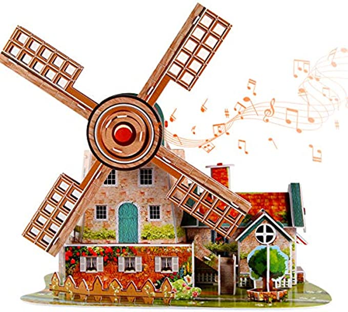 itsfun 3D Puzzle for Kids Jigsaw Puzzle Holland Windmill with Music Box, (44PCS)