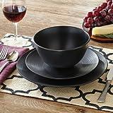 Better Homes and Gardens Matte Swirl 12-Piece Dinnerware Set Black & Amazon.com   Thomson Pottery 16-pc. Black Quadro Dinnerware Set One ...