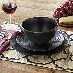 Better Homes and Gardens Matte Swirl 12-Piece Dinnerware Set, Black