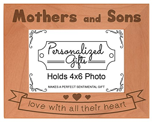 Mother Son Gifts Love All Their Heart Natural Wood Engraved 4x6 Landscape Picture Frame Wood (6 Wreath Frame)