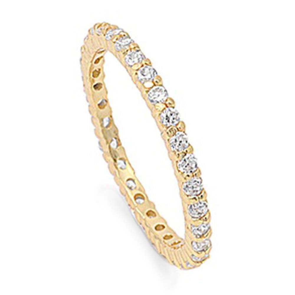 STACKABLE CZ Eternity Style Wedding Band YELLOW GOLD PLATED .925 Sterling Silver sz 6