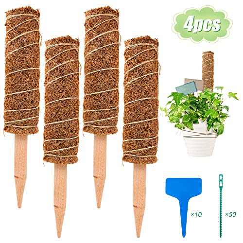 S-Mechanic 15.7 Inch Coir Totem Pole, 4 Pcs Plant Support Totem Pole Stackable Moss Stick for Climbing Indoor Plant Support Extension, Climbing to Grow Upwards (15.75