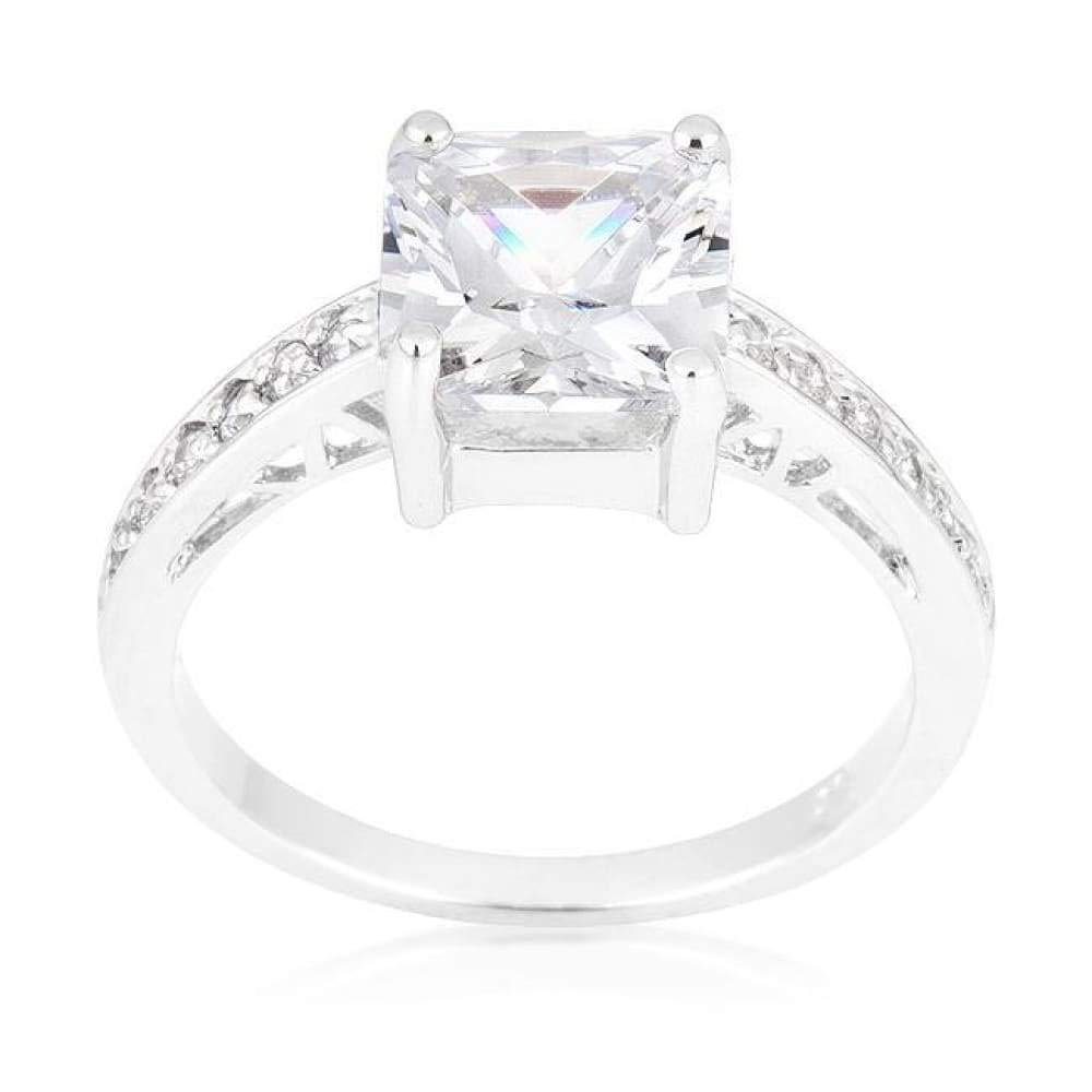 CZ Sparkle Jewelry Princess Cut Square Solitaire Isabella 2 Carat Engagement Ring JGI