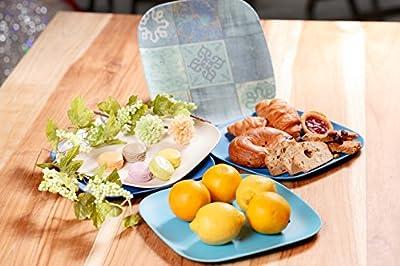 "BeGrella 9.5"" Dishwasher Safe Bamboo Fiber Square Plates, Set of 5"