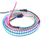 BTF-LIGHTING WS2812B 144 leds/pixels/m Black PCB Individual Addressable Full Color led pixel strip Dream Color Waterproof in silicon coating IP65 3.2FT 1m