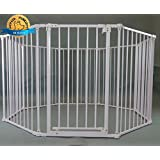 """Homey Pet- 8 Panels 40"""" 3 in 1 Heavy Duty Playard Wall-mount Gate Barrier for Baby and Pet, Indoor & Outdoor Additional Panel available (Large-8 Panles PNK)"""