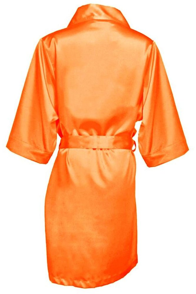 GirlEO Girl's Tangerine Satin Bridal Party Robes- Girl S