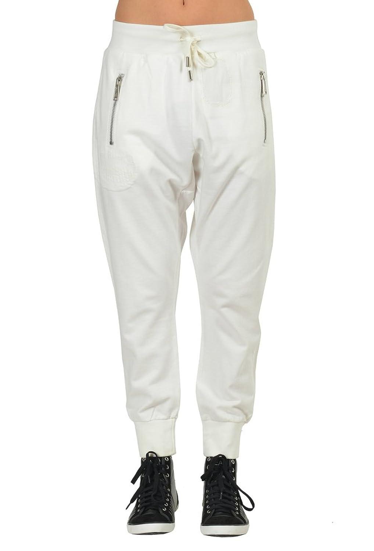 Dsquared2 White Cropped Draw String Waist Women's Harem Sweat Pants