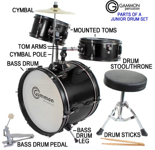 Drum-Set-Black-Complete-Junior-Kids-Childrens-Size-with-Cymbal-Stool-Sticks-Sticks-Everything-You-Need-to-Start-Playing