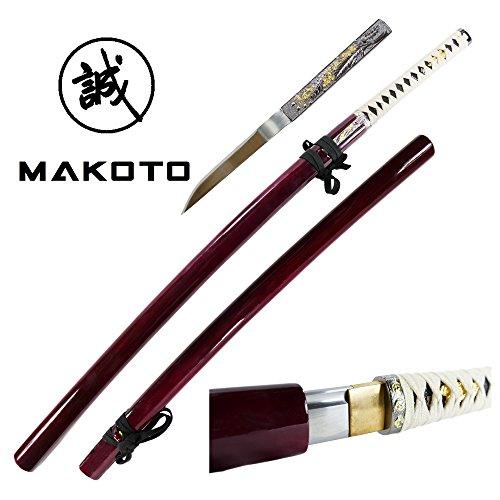 Makoto Bushido Zetsurin Handmade Katana Japanese Samurai Shirasaya Sharp Sword with Throwing Knife Dagger Burgundy