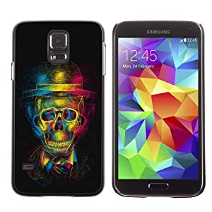 Licase Hard Protective Case Skin Cover for Samsung Galaxy S5 - Colorful Skull