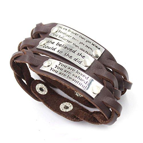 YOYONY Men's/Women's Inspirational Message Braided Leather Bracelets/Bangles Sports. (KM95-16)