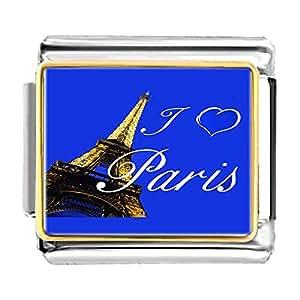 Chicforest Gold Plated Landmark Paris Eiffel Tower Bracelet Link Photo Italian Charm Bracelets