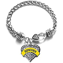 Inspired Silver 911 Dispatcher Pave Heart Clear Cystal Charm Bracelet