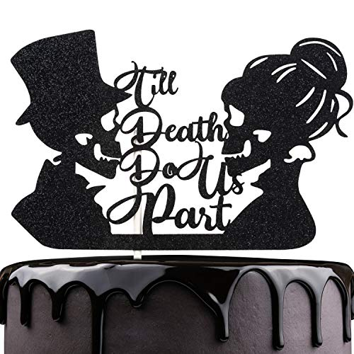Till Death Do Us Part Wedding Cake Topper - Dia De Los Muertos Sugar Skull Cake Décor - Halloween Skeleton Day Of The Death - Gothic Mr Mrs Wedding Party Decoration