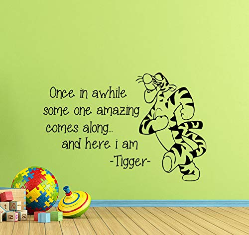 Tigger Wall Decal Winnie The Pooh Wall Decal Quote Once in Awhile Someone Amazing Comes Along Children Gift Vinyl Sticker Baby Print Walt Disney Wall Art Kids Nursery Wall Decor Kids Room Poster 931