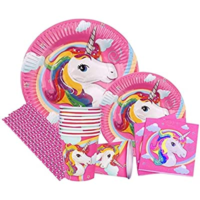 120 PCS, Unicorn, Happy Birthday Plates & Napkins Set for 20 People- Sturdy Birthday Party Supplies Pack with Large Paper Plates, Small Plates, Cups, Napkins, Straws Best for Girls & Boys- by Cafreis: Health & Personal Care