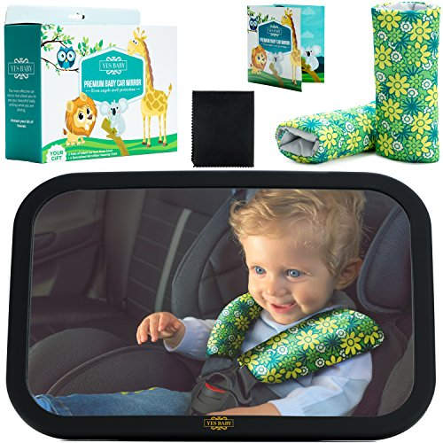 Baby Car Mirror Bundle - The Newest Baby Backseat Mirror for your child - The Safest & Largest Baby Mirror - Fully Assembled & Adjustable - Crash-tested - Baby Mirror for Car Rear-Facing