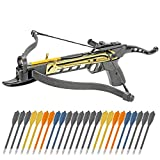Cheap Crossbow Self-Cocking 80 LBS by KingsArchery® with Adjustable Sights, 3 Aluminium Arrow Bolts, and Bonus 24-pack of Colored PVC Arrow Bolts + KingsArchery® Warranty