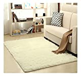 Ultra Soft Bedroom Carpet,Decorative Sitting Room Shaggy Area Rug, Fluffy Kids Playing Pad with Anti-Slip Bottom,Water Absorbent & Quick Dry Area Rug (Ivory,31'' x 47'')