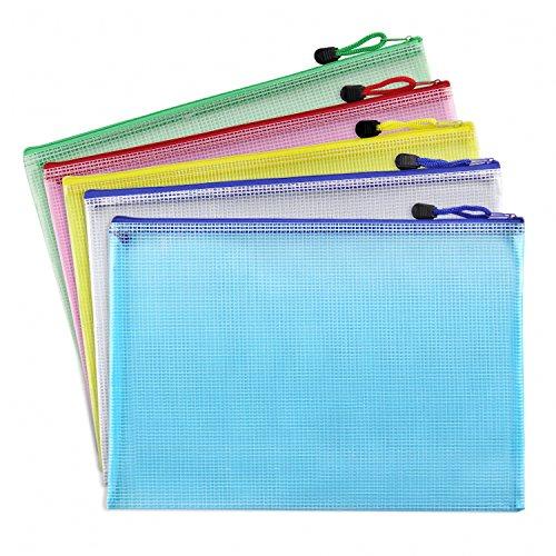 Bilipala Plastic Zip Document Filing Folder Bag Storage Pouch with A4 Size Paper, 5 (Plastic Magazine Bags)