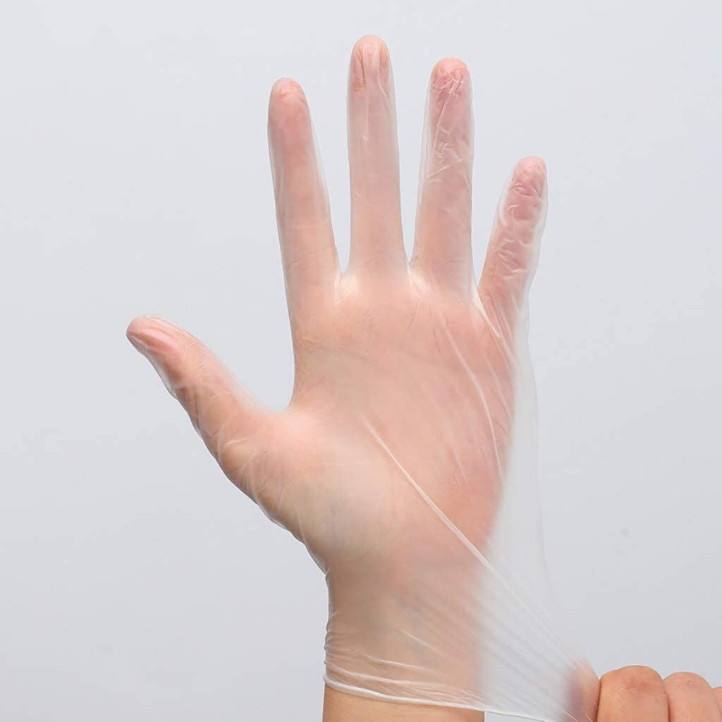 Screen Touch Design Resistant to Stretching Airpow 50 pcs Disposable Transparent Gloves White, L Powder-Free PVC Rubber Environmental Exam Gloves