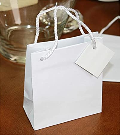 Amazon.com: Blanco brillante Fancy pequeñas bolsa de regalo ...