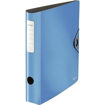 Leitz 10481030 - Archivador de anillas resistente (180° activo), color azul claro estrecho: Amazon.es: Oficina y papelería