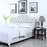 Classic Deluxe Tufted Ivory Fabric Headboard (Queen)