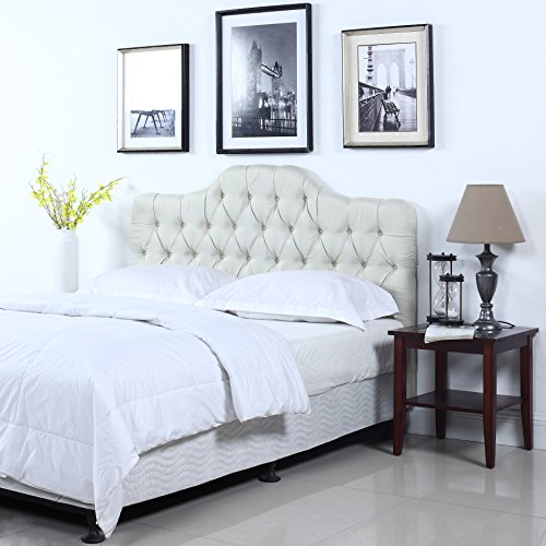 Classic Deluxe Tufted Ivory Fabric Headboard (King) by Divano Roma Furniture
