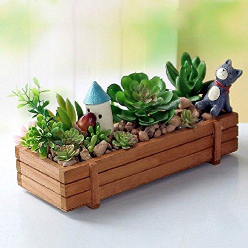 UEB Plant Pot, Wood Garden Flower Planter Succulent Rectangle Plant Storage Box Pot