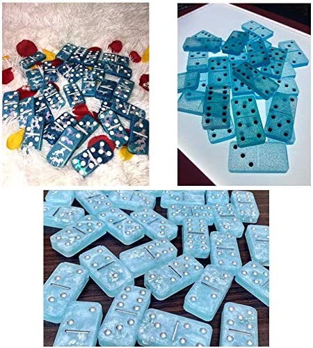 Home Decoration Handmade Gift DIY Epoxy Resin Molds for Personalised Dominoes Silicone Resin Domino Games Mold 28 Pcs