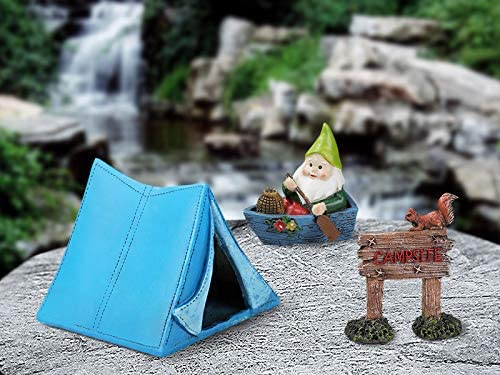 Enchanted Fairy Garden Accessories Outdoor - Gnome Camping Fairy Garden Kit with Cute Dancing Squirrel and Racoon by The Campfire - Fairy Garden Supplies for Outdoor Decor and Home Decor - 6 Pcs Set