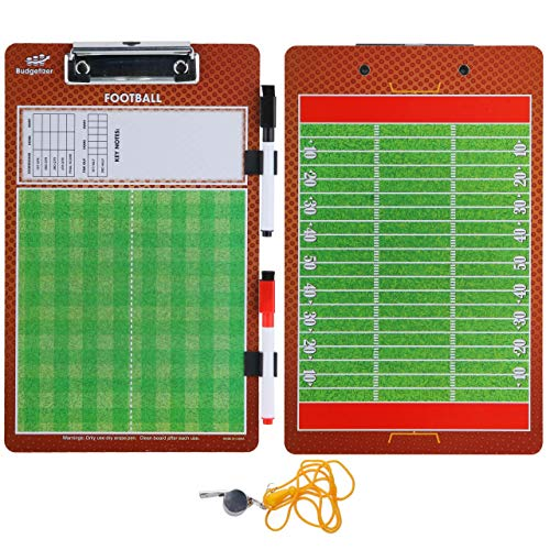 Football Coaches Dry Erase Clipboard - Double Sided Lineup Coach Whiteboard Bundled with Whistle and Dry Erase Markers - Coaching Equipment Playbook Board Gear - Great Tools for Coaching Tactics