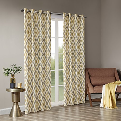 Ankara Cotton Printed Curtain Panel Yellow 50u0022x63u0022