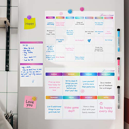 Lemecima 3PCS Magnetic Dry Erase Calendar Bundle for Refrigerator Monthly Weekly Organizer& Daily Notepad with 3 Markers and 4 Magnets Schedule Planner