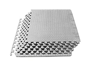 ProSource Puzzle Exercise Mat, EVA Foam Interlocking Tiles, Protective Flooring for Gym Equipment and Cushion for Workouts from