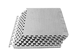 ProSource Puzzle Exercise Mat, EVA Foam Interlocking Tiles, 24 Square Feet, Grey (Includes 6 tiles)