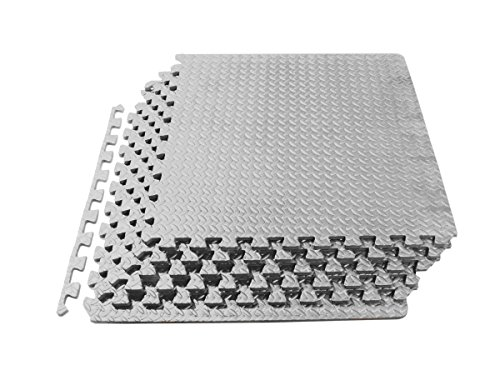 ProSource Puzzle Exercise Mat, EVA Foam Interlocking Tiles, 24 Square Feet, Grey (Includes 6 tiles) - Interlocking Foam Puzzle Mats