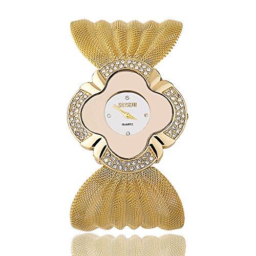 Ladies Floral Shape Mesh Bracelet Wrist Dress Watch for Women Party - Female Gold, Silver Silver Girls Watch