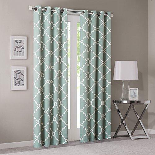 Madison Park - Saratoga Fretwork Window Curtain Seafoam - 50(W)