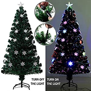 EFORINK Pre-Lit Artificial PVC Christmas Tree LED Multicolor w/Lights and Stand Holiday Lighted 65