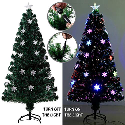 EFORINK 6ft Fiber Optic Christmas Tree Pre-lit PVC Artificial Xmas Tree with Colorful Fiber Optic and 30 LED String Lights, Snowflake Shaped lampshade, Top Star and Metal ()