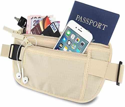 EnGive Travel Money Belt Wallet RFID Blocking Security Waist Stash Zipped